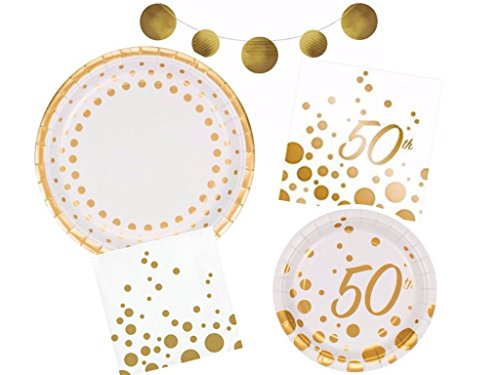 Sparkle & Shine Gold 50th Anniversary Deluxe Party Supplies Kit Including Dinner Plates, Dessert Plates, Luncheon Napkins, Beverage Napkins & Foil - Anniversary 50th Party Supplies