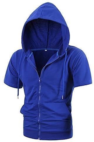 MIEDEON Mens Slim Fit Short Sleeve Lightweight Zip-up Hoodie With Kanga Pocket - Short Sleeve Zipper