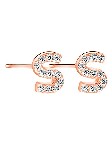 14K Rose Gold Plated Sterling Silver CZ Initial Letter S Stud Earrings (14k Smith Ring)