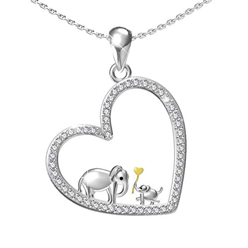 oGoodsunj S925 Sterling Silver Lucky Elephant Pendant Necklace - Mother Daughter Jewelry Heart Family Necklaces for Women Girls (Mother Daughter ()