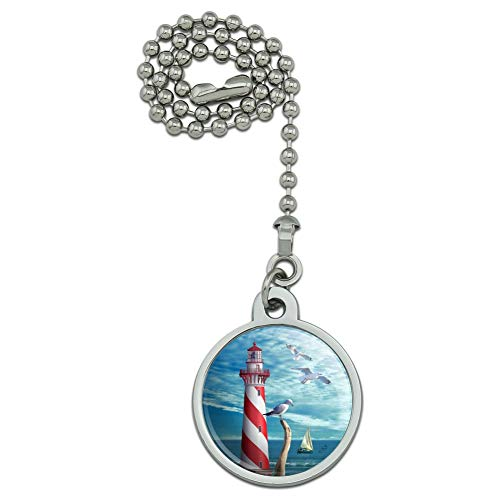 - GRAPHICS & MORE Lighthouse Seashore Ocean Beach Seagulls Sailboat Ceiling Fan and Light Pull Chain