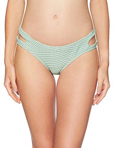 Bikini Lab Junior's Cut Out Hipster Bikini Swimsuit Bottom, sage//Sand Dunes, Medium