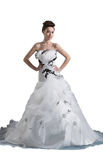 Vogue007 Womens Strapless Pongee Silk Wedding Dress with Printing, ColorCards, 16 by Unknown