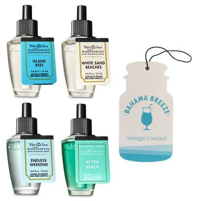 Bath and Body Works 4 Pack Wallflowers Fragrances Refill. 0.8 Oz. Summer Fragances + Paperboard Car Jar Bahama Breeze.