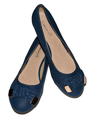 Zapatos Cuña Dorado Azul DE Lazo Planos 36 Mujer wBrBPz