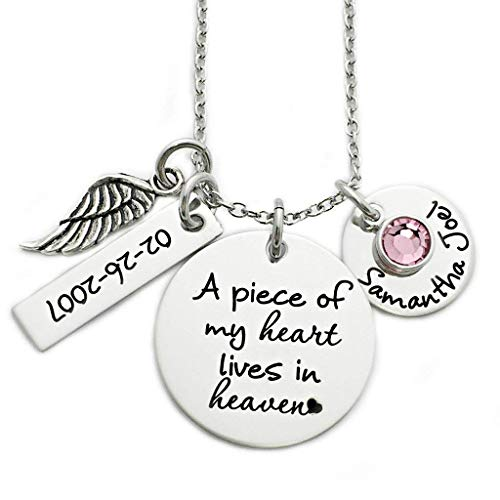 (A Piece of My Heart Lives In Heaven Memorial Necklace - Engraved Personalized Jewelry - 1116)