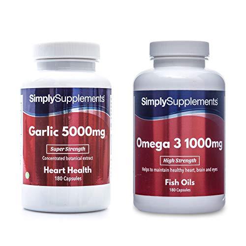 Garlic 360 Capsules + Omega 3 1000mg 360 Caps (Best Garlic Capsules Uk)