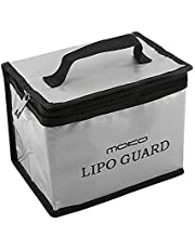 MoKo LIPO Battery Fireproof Explosion Proof Safe Bag, Large Space Zipper Fire and Water Resistant Safe Box Guard Storage for Protecting LIPO Battery and Charging (198 x 150 x 135 mm), Silver