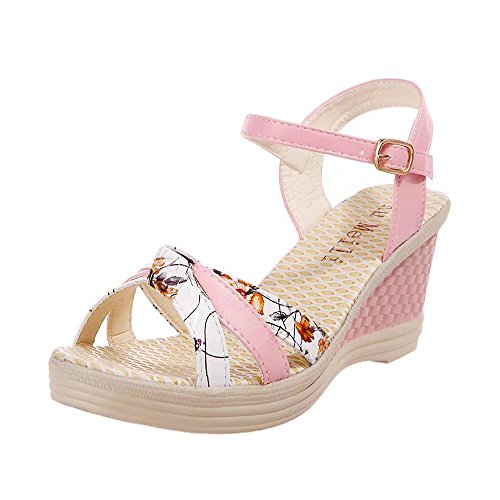 (iYBUIA Boho Sandals for Women Summer Wedges Platform Toe High-Heeled Shoes)