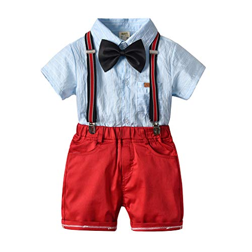 Sunyastor Baby Boys Gentleman Outfits Suits, Infant Blue Shirt+Bib Shorts+Tie+Suspenders Summer Clothing Set