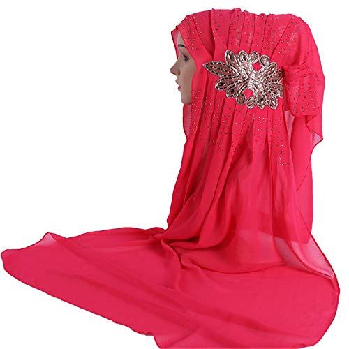 (BOOBODA Women's Scarf Wrap Shawl, Long Solid Color Pearl Chiffon Scarf Hijab,Printed Muslim Headscarf(Style P))