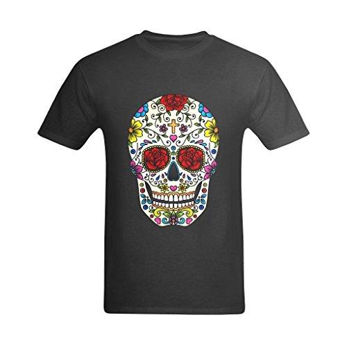LittleArt Men's Sugar Skull Black T-Shirt - Artist Tshirts US Size 12 ()
