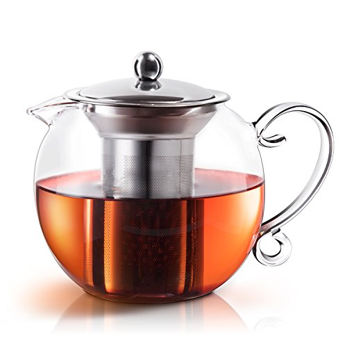 E-PRANCE Clear Glass Teapot with Infuser & Lid, Blooming and Loose Leaf Tea Pots, Hand-blown Borosilicate Glass Tea Maker, Microwavable and Stovetop Safe, 40oz/1200ml