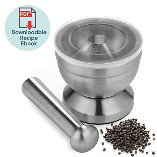 18/8 Stainless Steel Mortar and Pestle Spice Grinder with Lid for Crushing Grinding Ergonomic Design with Anti Slip Base and Comfy Grip - Silver