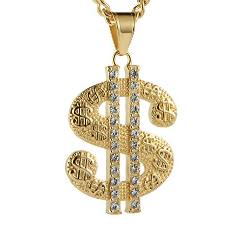 HZMAN Mens Gold Plated Dollar Sign Stainless Steel Pendant Necklace,Cz Inlay,with Free Hip hop Chain 22+2