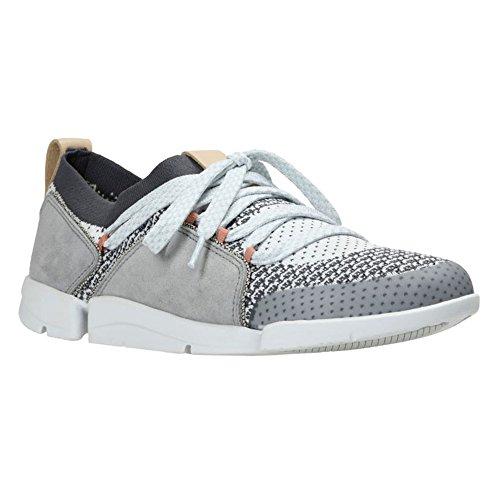 Clarks Leather Tie - CLARKS Womens Tri Amelia Grey Combi Sneaker - 7.5