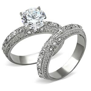 (Eternal Sparkles Women's Stainless Steel Clear CZ Vintage Engagement Ring)