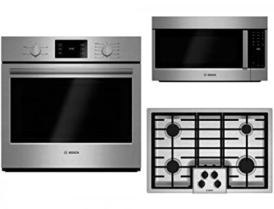 "Bosch 3-Piece Stainless Steel Kitchen Package with HBL5351UC 30"" Electric Single Wall Oven, NGM5055UC 30"" Gas Cooktop and HMV8052U 30"" Over-the-Range Microwave"