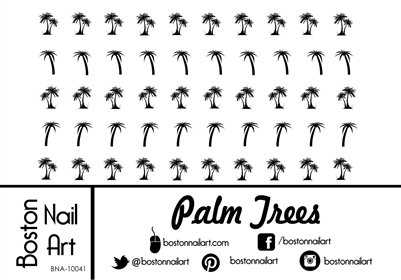 Palm Trees Waterslide Nail Decals - 50pc - Palm Tree Nail Art