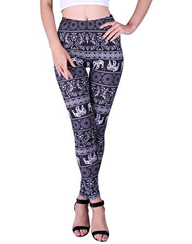 HDE Women Plus Size Leggings Stretch Pants for Women Black Elephant ()
