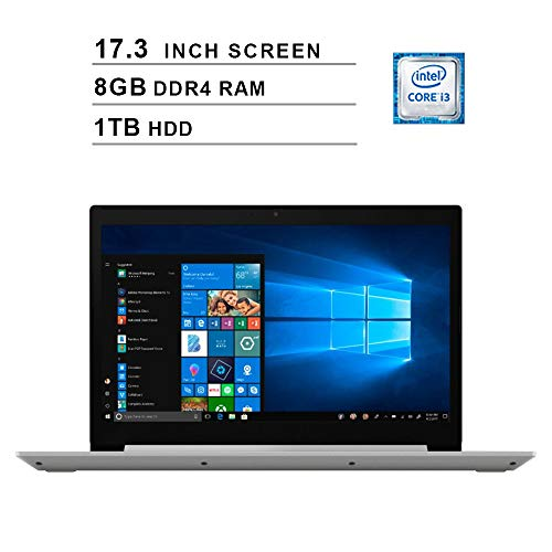 Lenovo 2019 Newest L340-17 17.3 Inch HD Laptop (8th Gen Intel Dual Core i3-8345U up to 3.90 GHz, 8GB DDR4 RAM, 1TB HDD, Bluetooth, DVD, WiFi, Windows 10) (Gray) (Best 17 Inch Laptop 2019)
