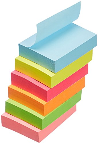 "AmazonBasics Sticky Notes - 1 3/8"" x 1 7/8"", Assorted Colors, 18-Pack"