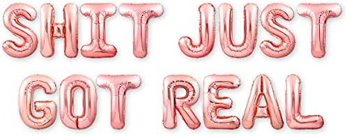 """PartyForever Shit Just Got Real Bachelorette Party Decorations Balloons Rose Gold 16"""" Letters Banner - Bridal Shower Decorations Set - Bridal Party Supplies and Favors - Hen Party Decorations Kit"""