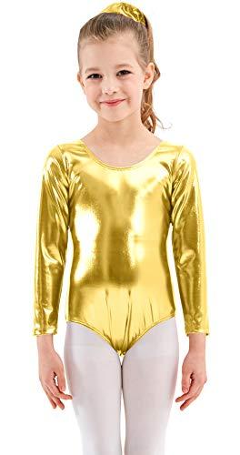 Mvefward Girls Long Sleeve Shiny Metallic Fish Scale Printing Mermaid Leotard Dancewear Bodysuit for Kids
