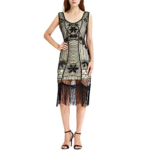 PASATO Women Vintage 1920s Beaded Fringed Gatsby Theme Flapper Dress for Prom -