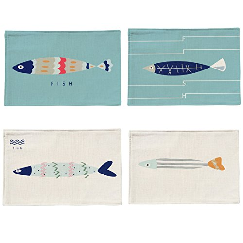 Placemats,YIFAN 4Pack Cute Placemats Table Mats Dining Mats Fabric Placemat for $<!--$15.99-->