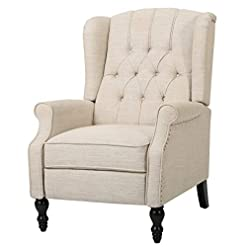 Farmhouse Accent Chairs GDF Studio Elizabeth Tufted Fabric Recliner, Vintage Reclining Reading Armchair, Light Beige farmhouse accent chairs