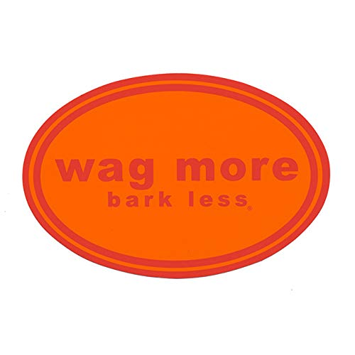 (Wag More Bark Less Auto Car Refrigerator MAGNET - Orange background with Red Font)