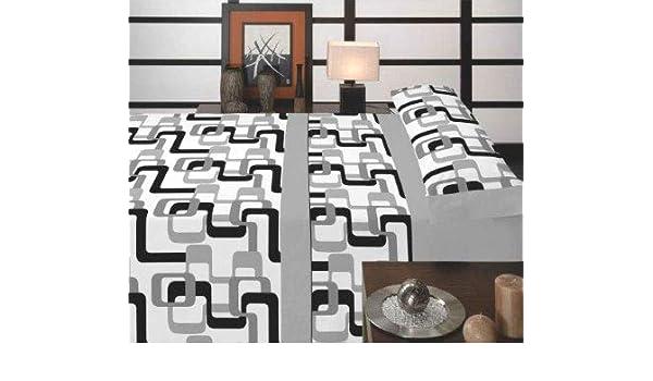 Casa Ydeal Store Juego de Sábanas Rayas Retro 50% algodón 50% poliéster (135cm, Gris): Amazon.es: Hogar