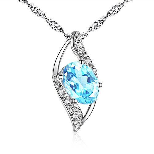 Mabella Sterling Silver Simulated Aquamarine 0.75ct Oval Cut Leaves Shape Pendant Necklace, Valentines Day Necklace Gifts for Girl
