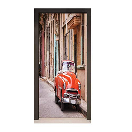 Cars Door Wallpaper Classical American Car in a Street with Ancient Houses Caribbeans Havana Cuba Decor Door Mural Orange Sand Brown,W23xH70