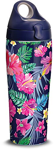 Tervis 1302020 Colorful Tropical Flowers Stainless Steel Insulated Tumbler with Lid, 24 oz Water Bottle, Silver (Bottle Water Stainless Flowers)