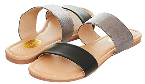 Floopi Womens Summer Wide Elastic Slide Flat Sandal (9, Black-503)
