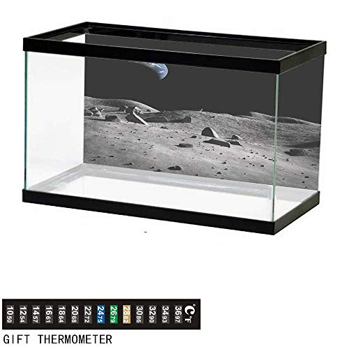 wwwhsl Aquarium Background,Moon,Earth Seen from The Moon Space Debris Vast Universe Day and Night Cycle Photography,Black Grey Fish Tank Backdrop 48