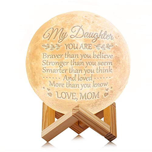 Engraved Moon Lamp Night Light - Brave & Smart Moon Light with Touch Control Brightness - from Mom/Dad to Daughter (A - from Mom)