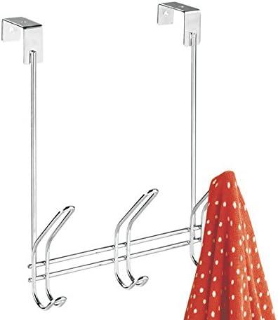 praktische Hakenleiste zum H/ängen mit 3 doppelten Garderobenhaken H/üte etc mDesign T/ürgarderobe aus Metall im Flur grau f/ür Jacken Eingangsbereich oder Schlafzimmer einsetzbar