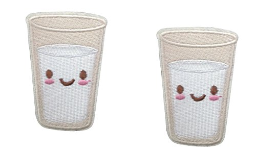 (2 pieces GLASS OF MILK Iron On Patch Fabric Applique Food Drink Motif Children Decal 2.4 x 1.6 inches (6 x 4 cm))
