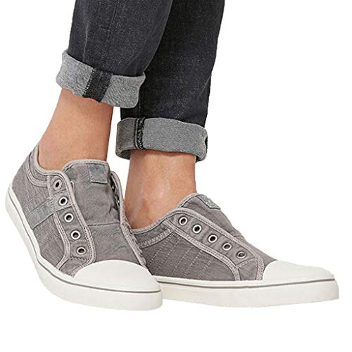 Cenglings Women's Sneakers, Women Round Toe Canvas Flat Shoes Slip On Shoes Casual Sport Shoes Walkings Shoes Office Loafers Gray