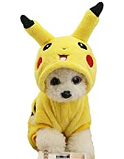 Cute Soft Dog Costume Flannel Dog Coat Picachu Lovely Warm Dog Clothes for Winter