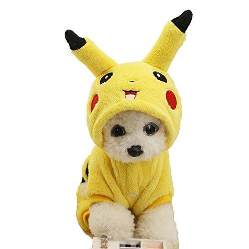 Oncpcare Cute Soft Dog Costume Flannel Dog Coat Picachu Lovely Warm Dog Clothes for -