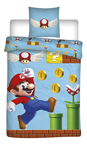Mario Aymax Super Children's Twin Duvet Cover 55 x 78 inch and Pillow Cover 25 x 25 inch 100% Cotton by Mario