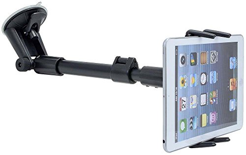 Car Mount, Premium Adjustable Arm Extension Windshield Tablet Car Mount for Apple iPad 2 3 4, Apple iPad Air, iPad PRO 2 Tablets w/Anti-Vibration Swivel Cradle Holder (use with or Without case)
