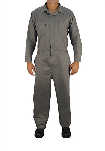 - Kolossus Deluxe Long Sleeve 100% Cotton Coverall with Multi Pockets and Antistatic Zipper ... (Grey, Medium)