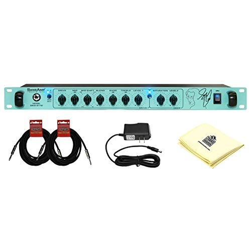 Tech 21 GED-2112 Geddy Lee Signature SansAmp Rackmount Bass Preamplifier with Dual Analog SansAmp Circuits and Effects Loop with 2 Instrument Cable and Zorro Sounds Polishing Cloth