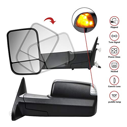 MOSTPLUS Power Heated Towing Mirrors for 2009-2012 Ram 1500 2500 3500 Pickup Signal Puddle Lights Pair