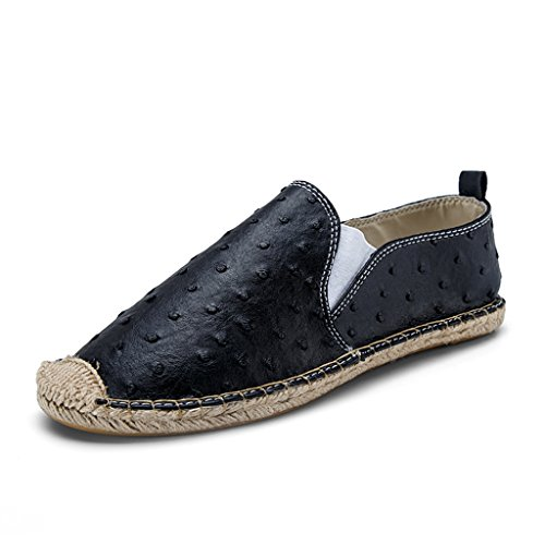 Flat Loafer Shoes Black Canvas On Original Slip Sneaker Men's Classic Casual Espadrille KwHqXR1Y